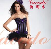 Flower Lace Satin Lace Up Overbust Burlesque Corset Top + Black Tutu Skirt set