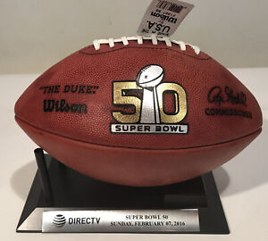 """Super Bowl 50 Wilson Official NFL Game Football """"The Duke"""" Broncos  Panthers"""