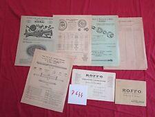 N°7644 / ROFFO documento pezzi ricambio per macchina agricola 1952