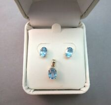 10k Yellow Gold Blue Topaz Stud Oval Earrings Pendant Set Mexico Signed