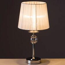 Lampada da tavolo Lume Comodino in Acciaio Cristallo e Tessuto Bianco Abatjour