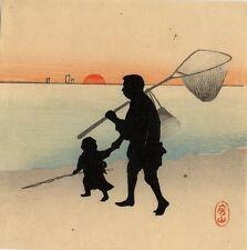 UW»Estampe japonaise Shin Hanga silhouettes bord de mer 99 J03