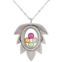 """Leaf Memory Locket  Floating Glass Beads Cage Steel Chain Necklace 20"""""""