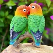 PARROTS ON BRANCH (LOVE BIRDS)- Realistic Life Like Figurine Statue Home Garden