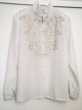 Laura Scott Ladies Long Sleeve Gold & White Embroidered  White Blouse Size 8