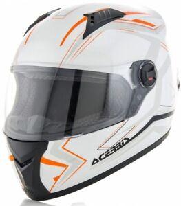 XXL ACERBIS Full Face Motorbike Road Helmet White Orange suit KTM etc RRP$149.95