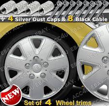 "14"" inch 7 Spoke Set of 4 Car Wheel Trims Hub Cap Cover 4 Dust Caps 8 Cable Tie"