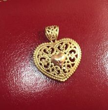 Vintage 10K Yellow Rose Tri Gold Diamond Cut Heart Pendant Mom Filigree 3D Charm