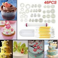 46pcs Cake Decorating Fondant Sugarcraft Icing Plunger Cutters Tools Mold Mould