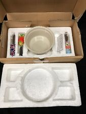 Celebrating Home Stoneware Collection Veranda Dip Bowl with 3 spreaders NEW NIB