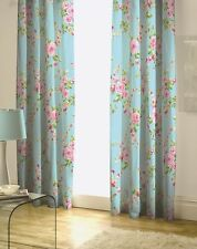 "66"" by 72"" Duck Egg Blue Canterbury Floral Print Lined Curtains Pencil Pleat"