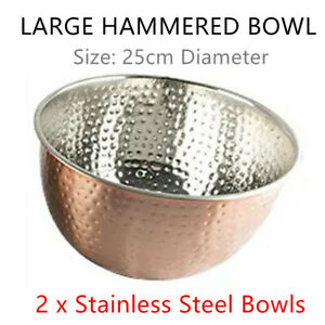 2x Large Stainless Steel Hammered Bowl 25cm Cooking Salad Soup Food Noodle Metal