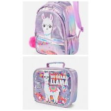 NWT JUSTICE No Drama Llama Sequin Shaky Backpack & Lunch Tote NEW For 2019💜