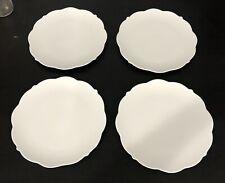 """Maxwell Williams White Basics """"White Rose"""" Dinner Plates Porcelain Scalloped 4"""