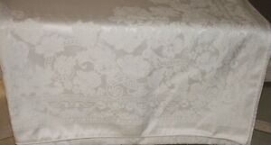 """1997 Waterford White Floral Tablecloth  58"""" x 120"""" Oblong RN #77104"""