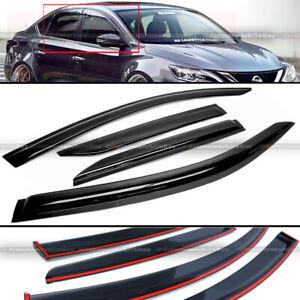 Fit 13-17 Nissan Sentra B17 JDM Style Black Tinted Trim Window Visor Deflector
