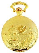 Taschenuhr Classique Gold Fischer Angler Forelle Fisch Motiv Quarz mit Kette Uhr