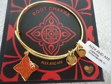 Alex and Ani THE ROOT CHAKRA Shiny Gold Charm Bangle New W/ Tag Card & Box