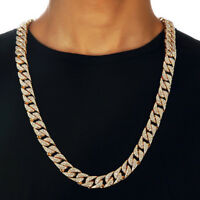 "Hip Hop Men Quavo Gold PT Iced Out 15mm 20"" Miami Cuban Choker Chain Necklace"