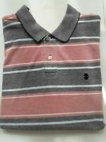 Izod men's Shirt Peach, grey light blue and white striped XL short sleeve .