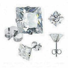 Pair Women Men Cubic Zirconia Round Square Silver Stainless Steel Stud Earrings