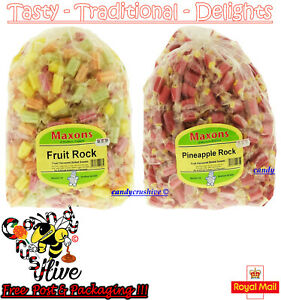 1 - 1000 Maxons Pineapple Rock and Fruit Rock Roller Boiled Sweets Traditional