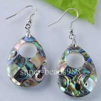 Free shipping New Zealand Abalone Shell Beads Dangle Earrings Pair SR361