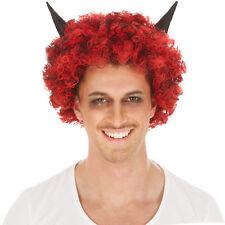 Perücke schwarz-rot lockig kurz mit Hörner Halloween Hexe Teufel Vampir Karneval