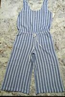 NWOT Anthropologie Cloth And Stone Medium Blue And White Stripe Wideleg Romper