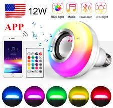 Wireless Bluetooth Led Light Speaker Bulb Rgb E27 12W Music Playing lamp Remote