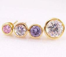Yellow Gold Simulated Round Costume Earrings