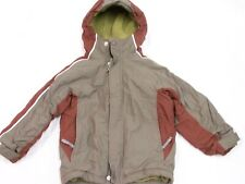 REI Boy's Kids Size XS 4-5 Hooded Jacket Insulated Fleece lined Taupe/Rust Coat