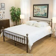 Bedroom Furniture Victorian Style Brown Iron Metal King Size Bed