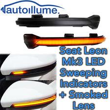 Sweeping Dynamic LED Wing Door Mirror Indicator Light Seat Leon Mk3 FR Smoked