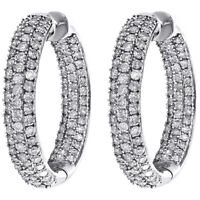 14K White Gold Pave Set Round Diamond Hoop In & Out 27mm Huggie Earrings 2.87 CT