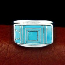 Calvin Begay Sterling Silver Men's Turquoise Ring  Size 13 --- R18 C T