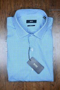 Hugo Boss Men's Marley Sharp Fit Turq/Aqua Plaids Cotton Dress Shirt 41 16