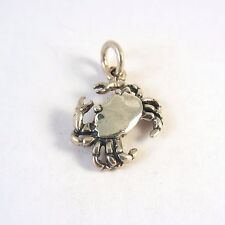 .925 Sterling Silver Small 3-D CRAB CHARM NEW Pendant Rock Beach Cancer 925 NT60