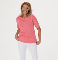 Denim & Co. Boat Notch Neck Elbow-Sleeve Top Warm Coral, X-Small A354178