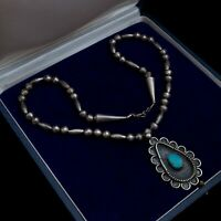 Antique Vintage Sterling Silver Native Navajo Turquoise Beaded Necklace 39.4g