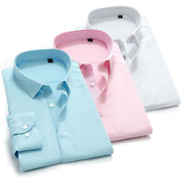 Men's Dress Shirts Luxury Long Sleeves Casual Formal Business Work Camisas T6258