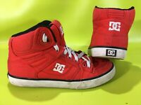 Men's DC Spartan Hi WC TX Red & White Canvas Skate Shoes Sz 7