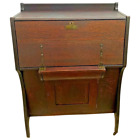 Antique Secretary Desk Prohibition Era Locking Hidden Oak Server Liquor Cabinet