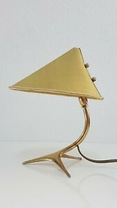 Mid Century Modern J.T. Kalmar Brass Table Lamp Messing Tischleuchte Lampe 50er