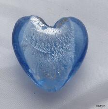 Aqua Blue silver foil glass heart beads 20mm X 5