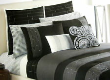 FULL - Apt 9 Illusion Black & Gray Pintuck Pleats SHAM, BEDSKIRT & COMFORTER SET