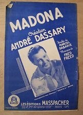 ) partition MADONA - André Dassary, Marcel Dabadie, Fred Freed