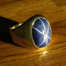 CLASSIC MENS RING WITH OVAL 16CT. BLUE STAR SAPPHIRE IN HEAVY  STERLING SILVER