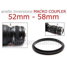 Anello MACRO COUPLER adattatore INVERSIONE 52mm - 58mm 52 58 Canon Nikon Sony