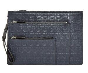 Salvatore Ferragamo Logo Embossed Leather  Portfolio / Document Case, Navy $795